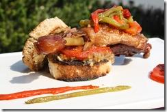 burger canard et legumes confits